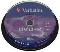 Диск verbatim dvd+r 4,7 Гб 16x cake 10 шт (43498)