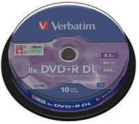 Диск verbatim dvd+r 8.5 Гб dl 8x cake 10 шт. printable (43666)