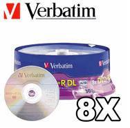 Диск verbatim dvd+r 8.5 Гб dl 8x cake 25 шт. (43757)