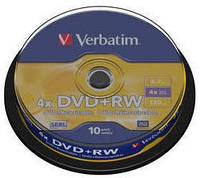 Диск verbatim dvd+rw 4,7 Гб 4x cake 10 штук