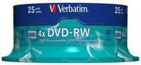 Диск verbatim dvd-rw 4.7 Гб 4x cake 25 штук silver (43639)