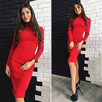 Женское теплое ангоровое платье цвет красный