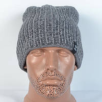 Модна в'язана  шапка на  флісі   Adidas- сіра