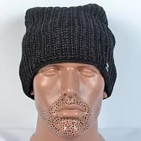 Модна в'язана  шапка на  флісі  Adidas- темно-сіра