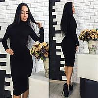 Женское теплое ангоровое платье цвет черный