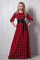 Яркое длинное платье в пол с кожаным поясом в комплекте принт клетка