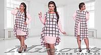Короткое платье с вшитой накидкой из шифона с украшением 48+