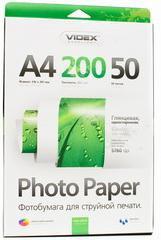 Фотобумага videx глянцевая 200 гр. А4*50 glossy