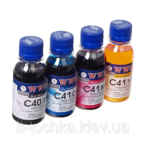 Комплект чернил wwm для canon pg-40/cl-41 водорастворимые 4 х 100г b/c/m/y (c40/41set-2)