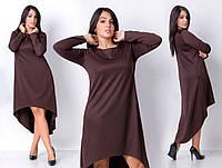 Асимметричное женское платье батал  А-силуэта с карманами в швах
