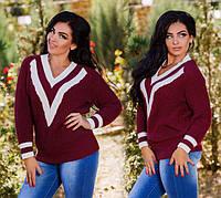 """Женский вязанный свитер-пуловер в больших размерах """"Вырез Треугольник Полосы"""" в расцветках (DG-р2037)"""