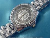 Часы Rolex B47 114396 женские серебристые с черным стразы диаметр 38мм на металлическом браслете римские цифры