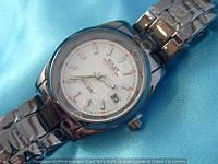 Часы Rolex B59 114398 женские серые с белым диаметр 35 мм на металлическом браслете линза календарь