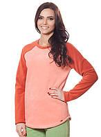 Женская,теплая,флисовая зимняя кофта персикового  цвета .