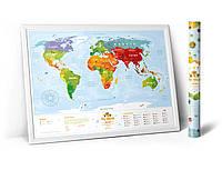 Развивающая карта мира для детей с животными