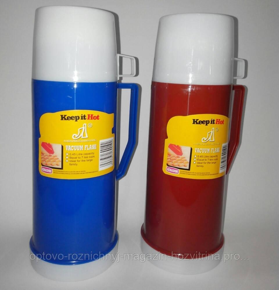 Термос пластмассовый со стеклянной колбой, 1 л