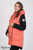 Куртка-парка для беременных Lex, утепленная, коралловая с черным
