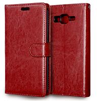 Кожаный чехол-книжка для Samsung Galaxy Grand Prime G530 G530H G531 коричневый