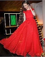 Вечернее пышное платье в пол из гипюра
