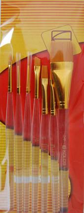 Набор кистей 7016, синтетика круглые/плоские/скошенные/овальные 2/3/1/1 шт., KOLOS, фото 2