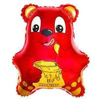 Гелиевый FM Медведь с бочонком меда малиновый 56см X 47см