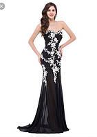 Вечернее эксклюзивное длинное платье шифоновое с ажуром