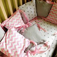 Бортики в кроватку для девочки звездочки