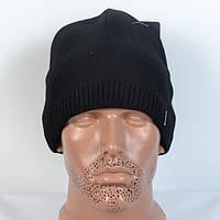 Модна в'язана чоловіча   шапка  - чорна