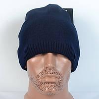 Модна в'язана чоловіча   шапка  - темно-синя