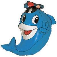 Гелиевый FM Дельфин в кепке 76см X 51см
