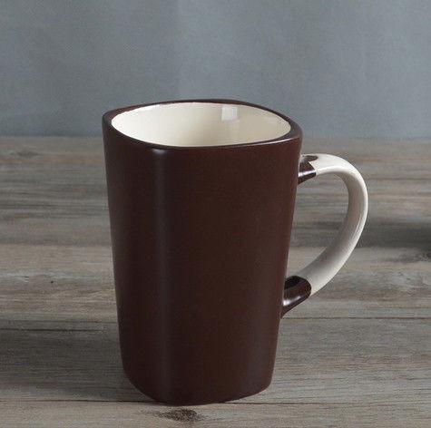 Чашка из глины для чая и кофе темно - коричневая 300 мл