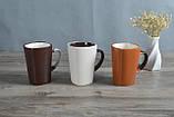 Чашка из глины для чая и кофе темно - коричневая 300 мл, фото 2