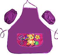 Фартук школьный для девочки Мишка с цветами Эконом 77824-3