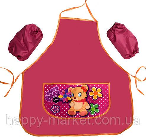 Фартук школьный для девочки Мишка с цветами Эконом 77824-4, фото 2