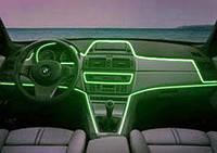 Неоновая подсветка салона—холодным гибким неоном. Зеленый