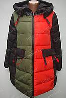 Двухцветная женская зимняя куртка на замке с капюшоном