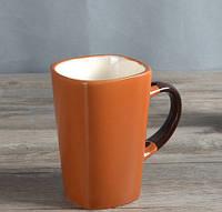Чашка из глины для чая и кофе коричневая 300 мл