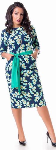 Платье женское полубатал карманы пояс