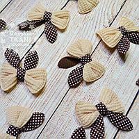 Декор для швейных изделий: бантики коричневого цвета.