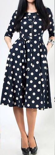 Платье женское  карманы 3/4 рукав пояс миди горох