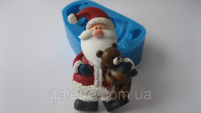 """Силиконовый молд """"Санта с медвежонком""""(код 02435)"""