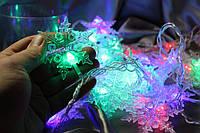 Электрогирлянда с насадкой *Снежинка* диодная 40 лампочек 4 метра (гирлянда светодиодная)
