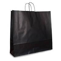 Крафт-пакет 54х14х50 черный с витыми ручками от 50 шт