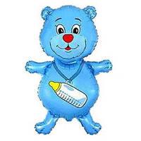 Гелиевый FM Медвежонок с бутылочкой голубой 92см X 59см