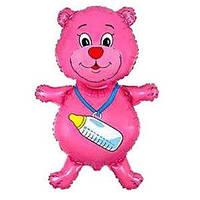 Гелиевый FM Медвежонок с бутылочкой малиновый 92см X 59см