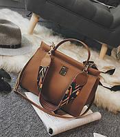 Стильная женская вместительная сумка коричневого цвета, фото 1