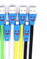 Кабель USB - Micro USB mix color  smile  светятся при зарядке