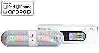 Колонка с подсветкой Блютуз usb microSD Радио портативная Белая