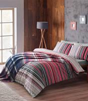 Двуспальное постельное белье TAC Luke red  + плед