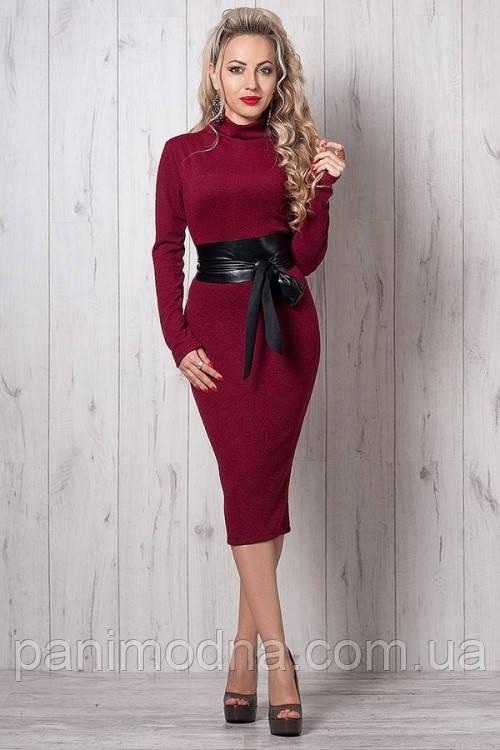 """Деловое платье декорировано кожаным поясом  - """"Стелла"""" код 264"""